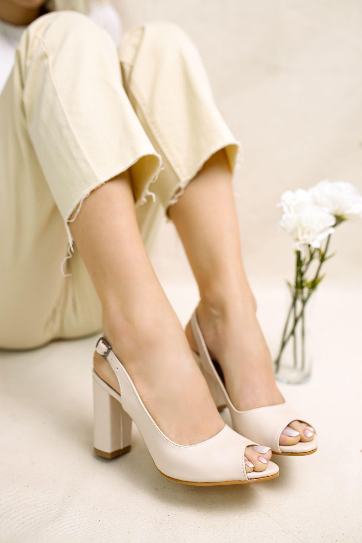 Maura Vizon Mat Deri Kadın Topuklu Ayakkabı