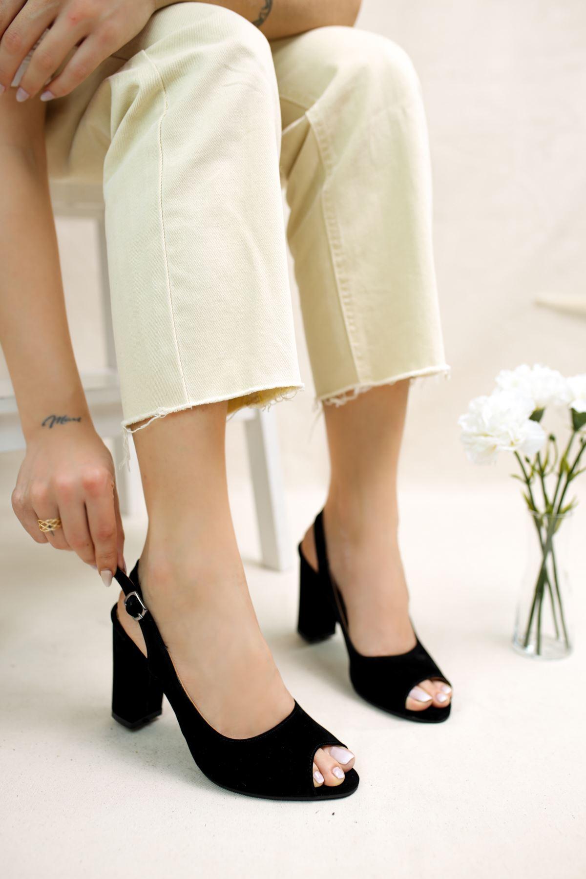 Maura Siyah Süet Kadın Topuklu Ayakkabı