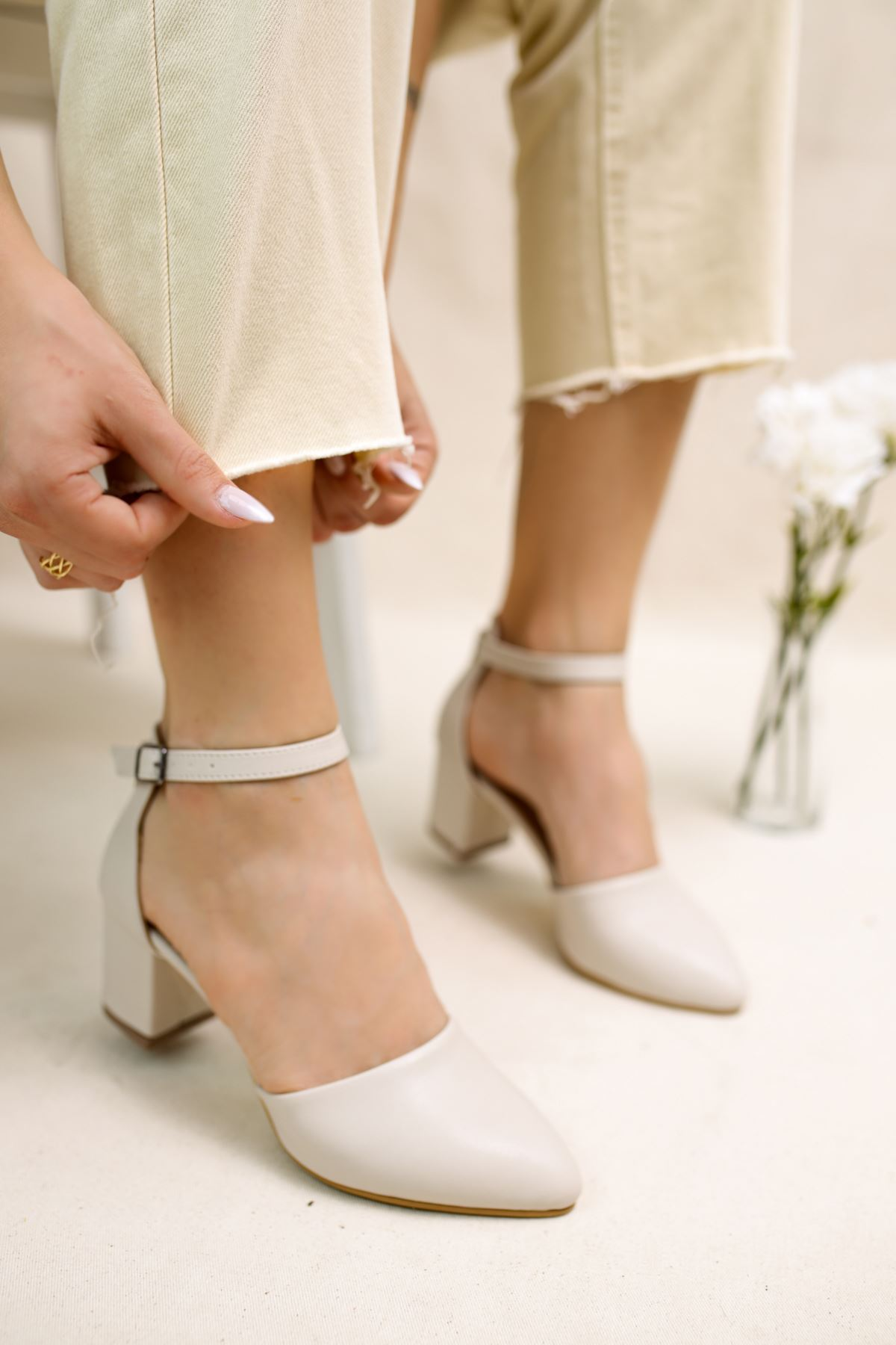Perlit Vizon Mat Deri Kadın Topuklu Ayakkabı
