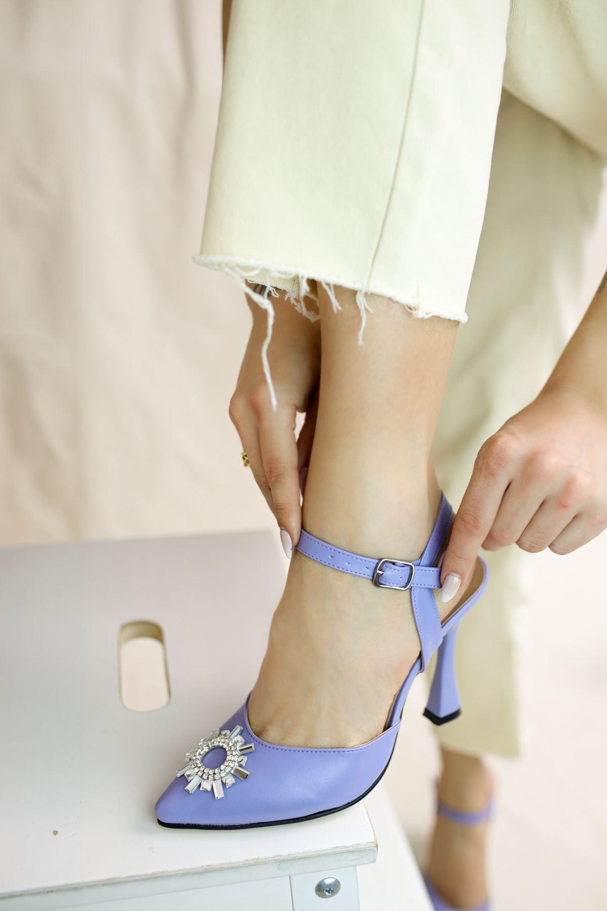 Bella Lila Mat Deri Kadın Topuklu Ayakkabı