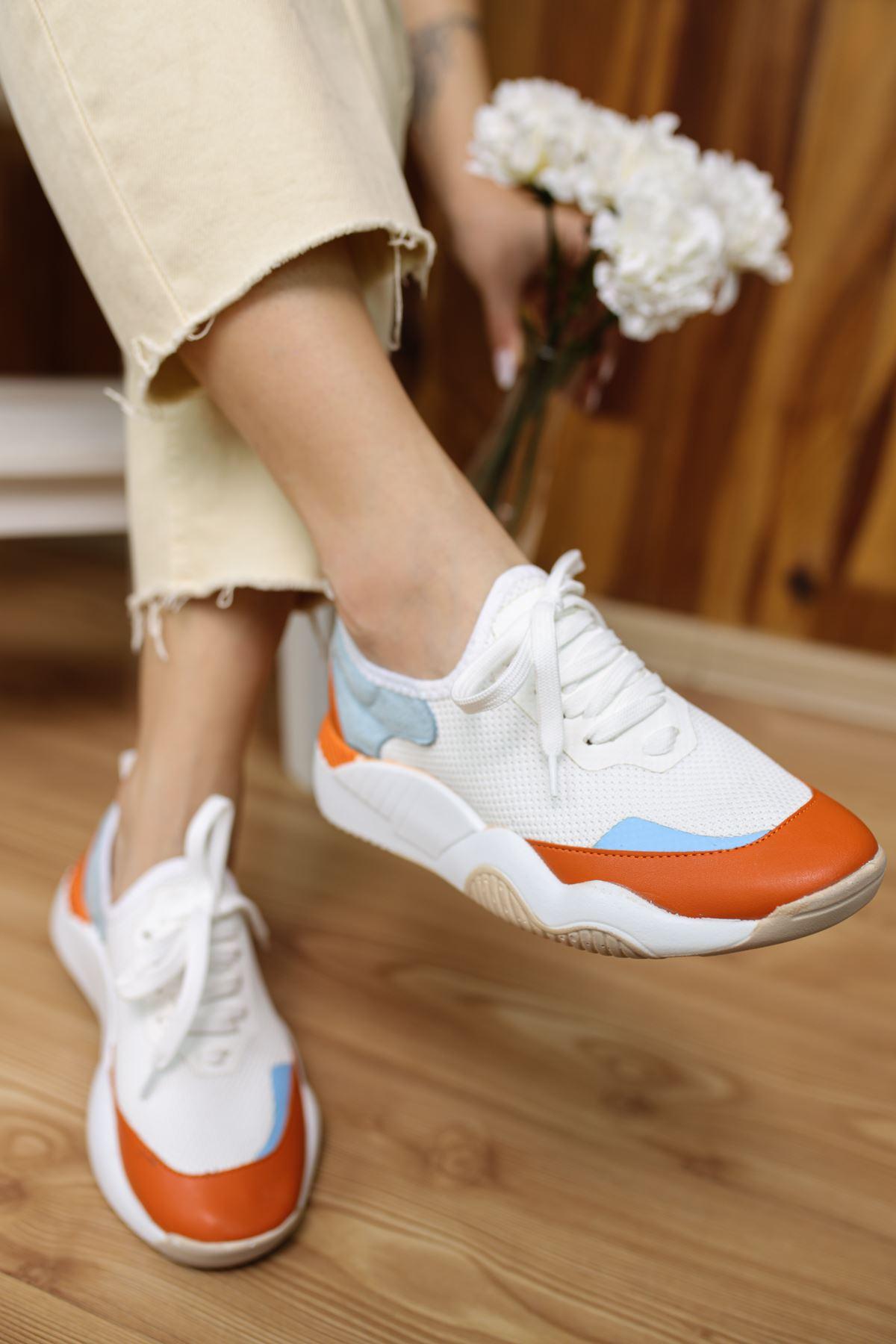 Caprice Beyaz Mavi Oranj Bağcıklı Kadın Spor Ayakkabı