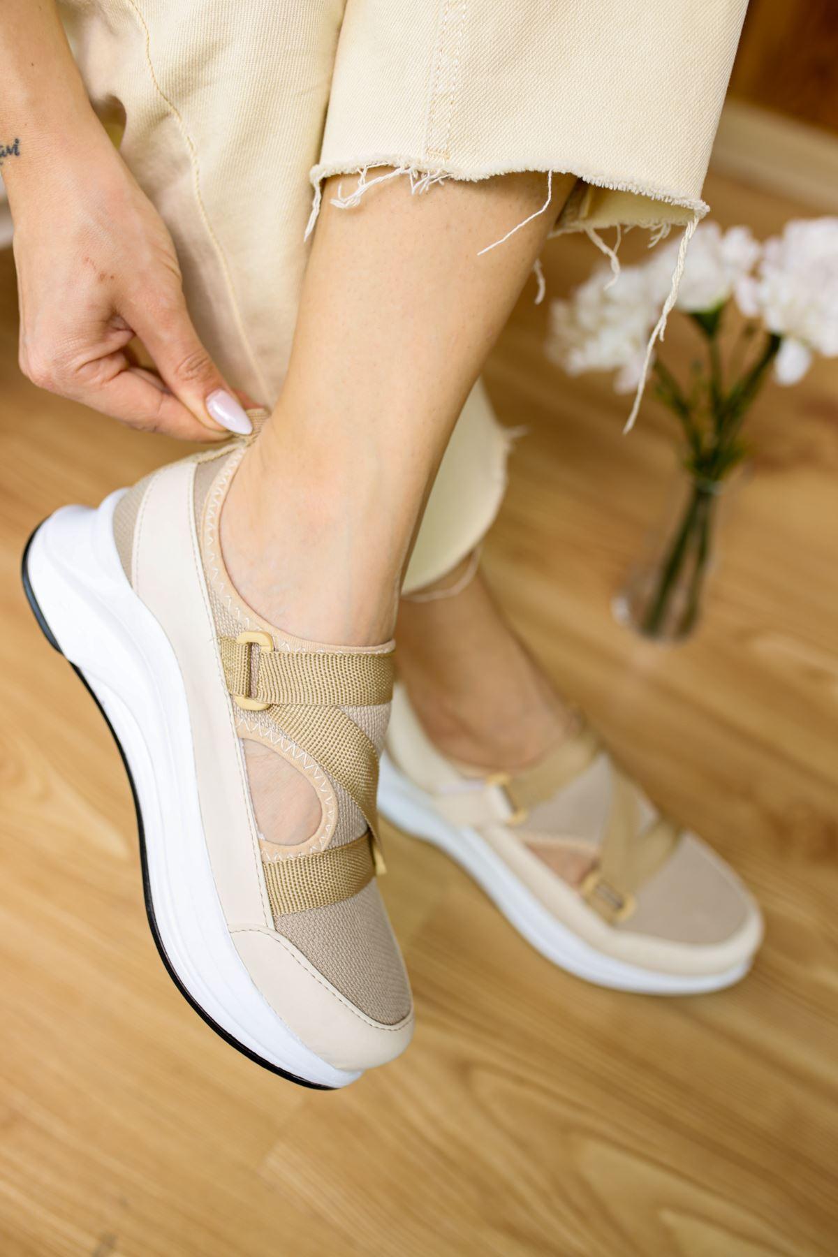 Tesra Vizon Lastikli Kadın Spor Ayakkabı