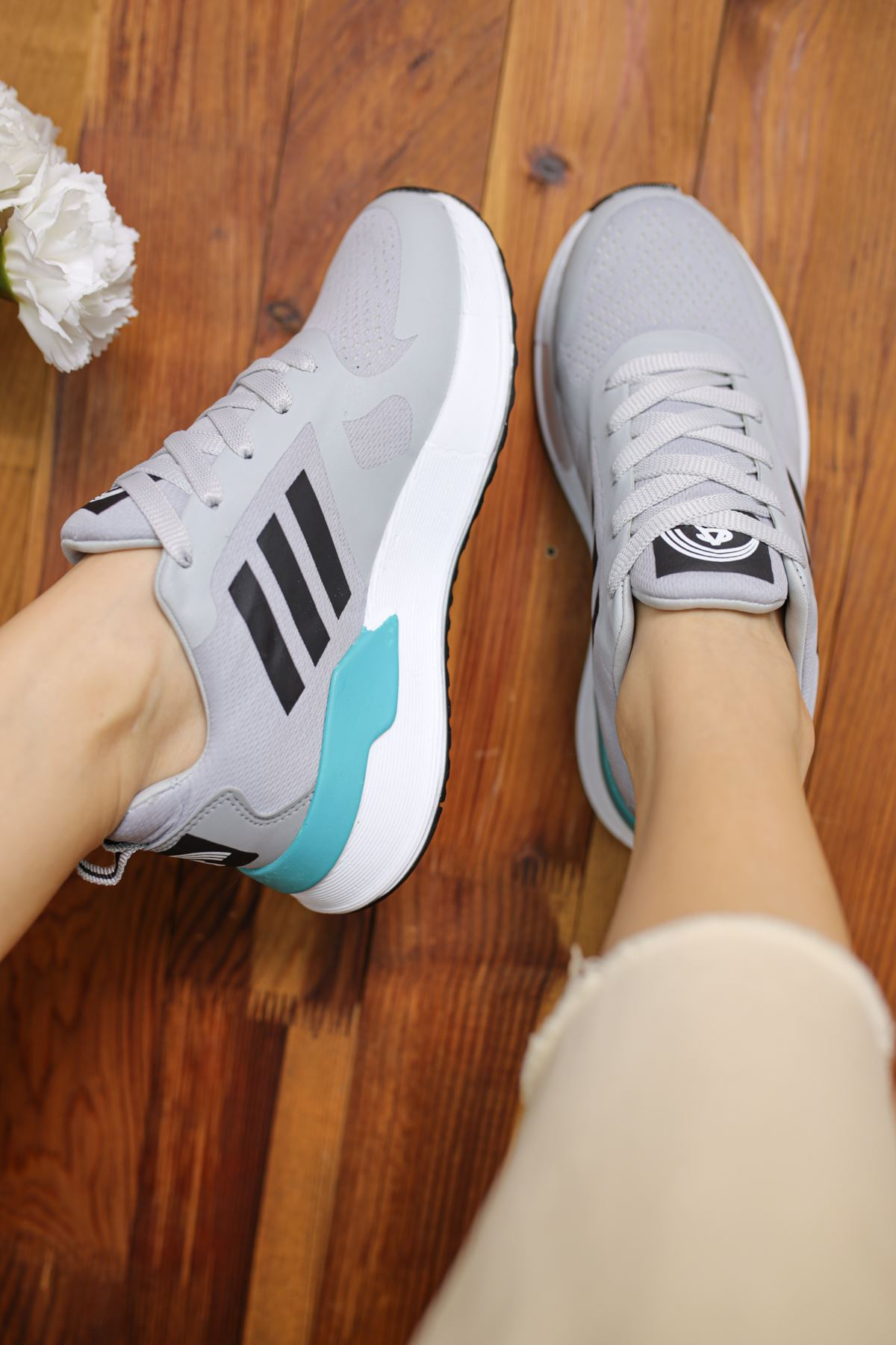 Emma Gri Bağcıklı Kadın Spor Ayakkabı
