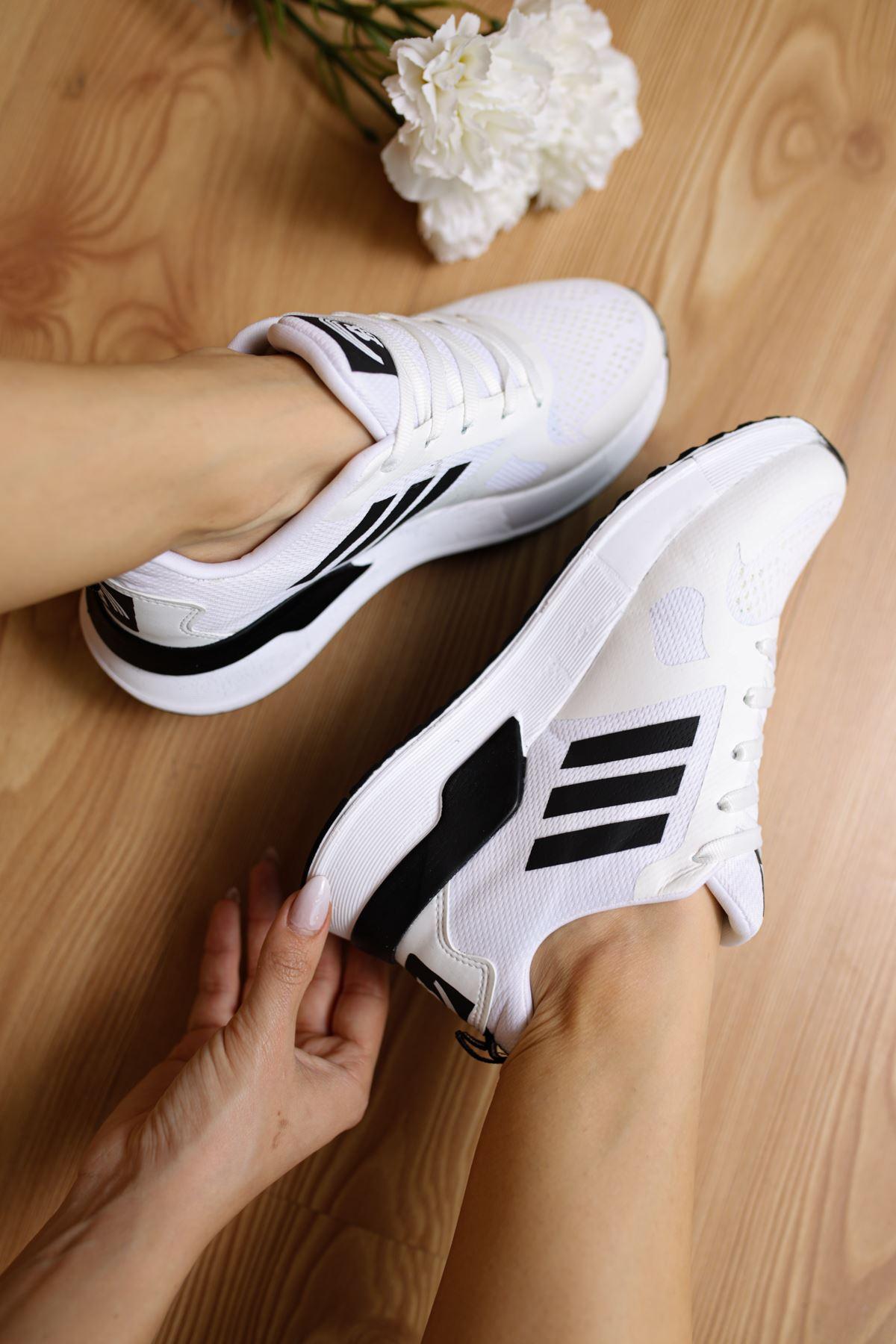 Emma Beyaz Bağcıklı Kadın Spor Ayakkabı