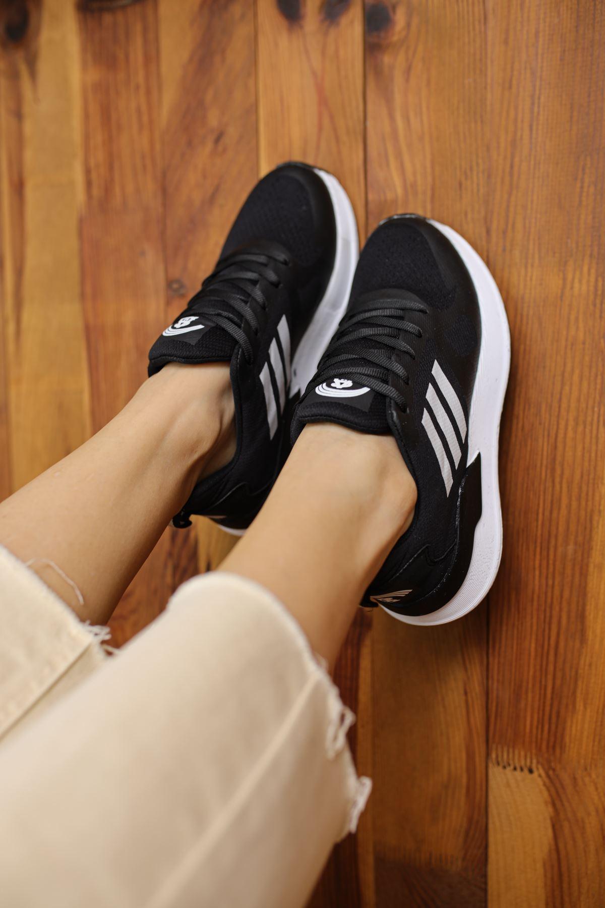 Emma Siyah Bağcıklı Kadın Spor Ayakkabı