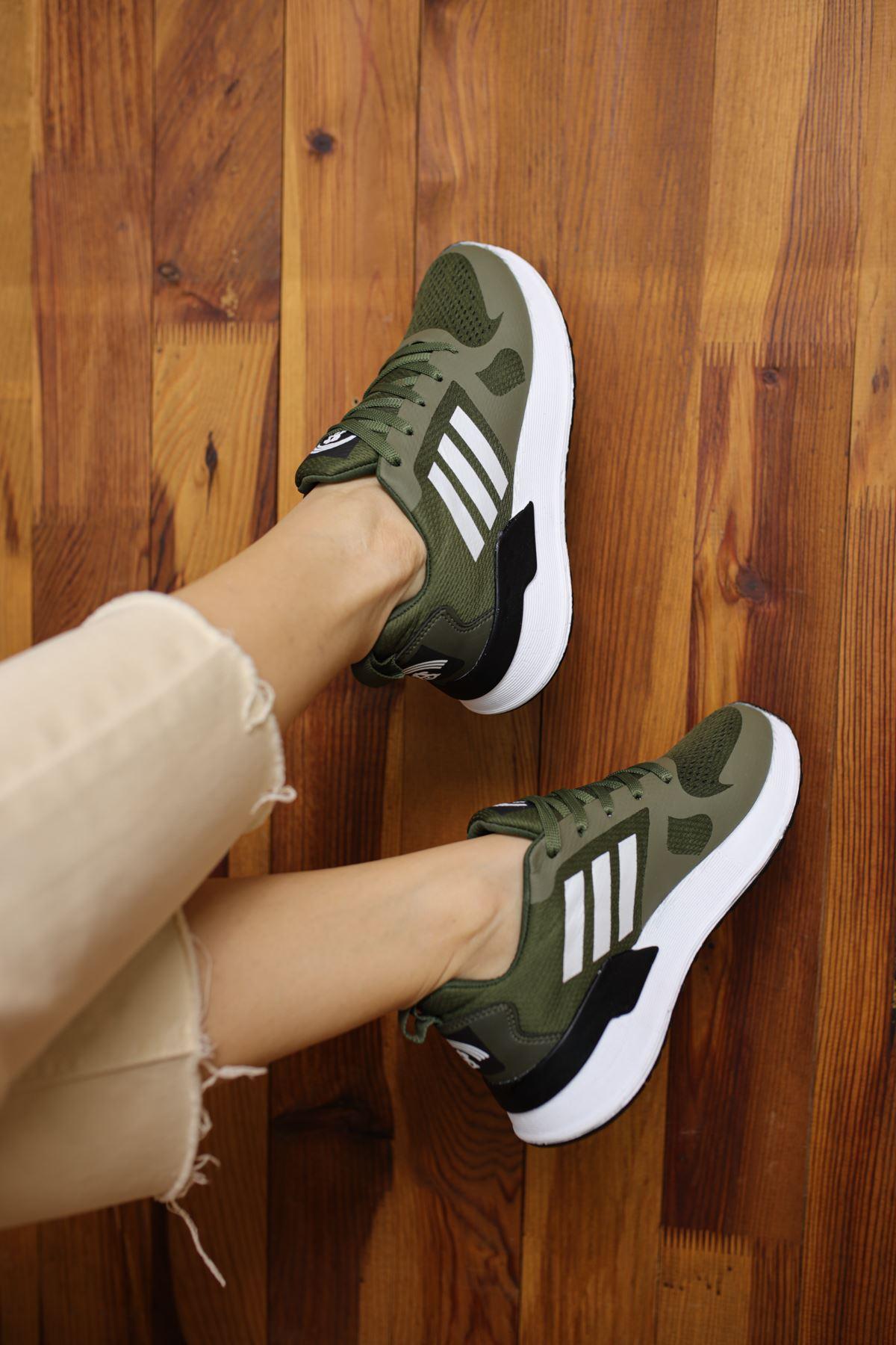 Emma Haki Yeşil Bağcıklı Kadın Spor Ayakkabı