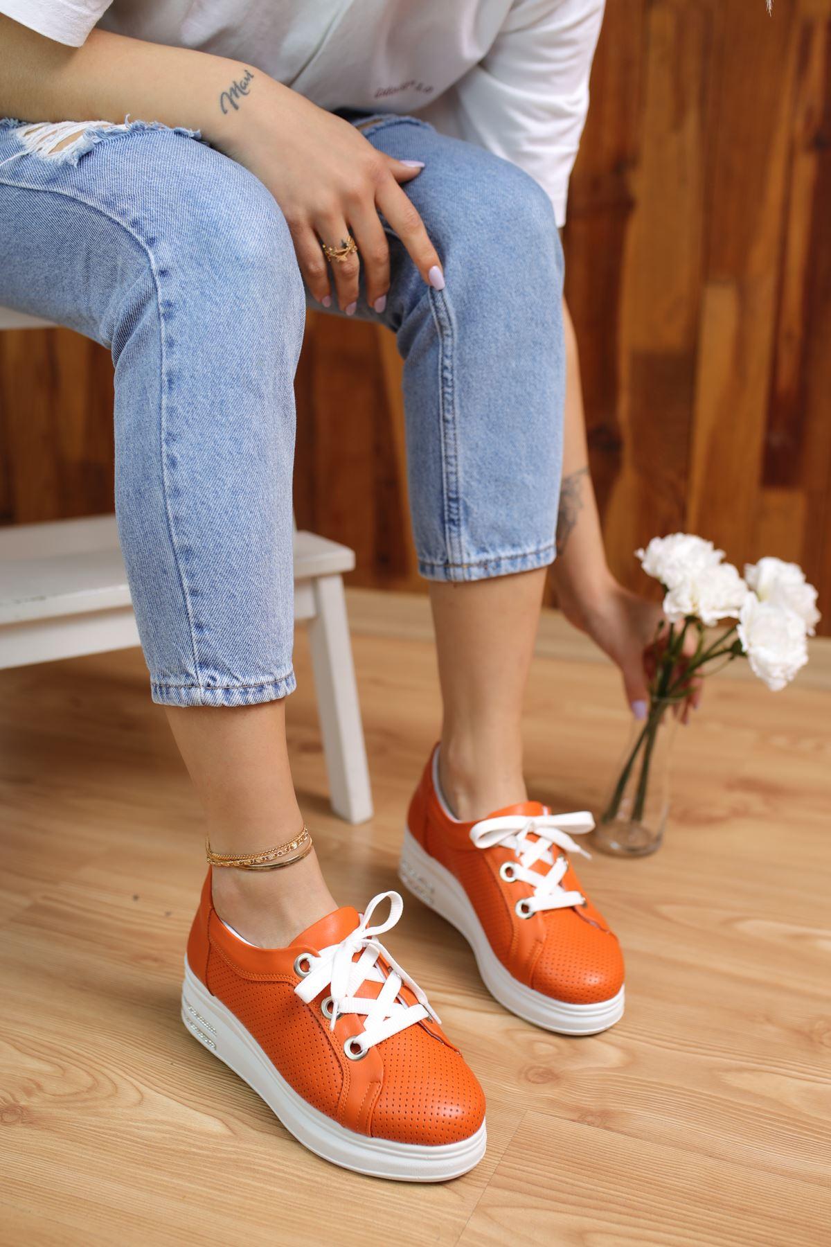 Head Oranj Mat Deri Kadın Spor Ayakkabı
