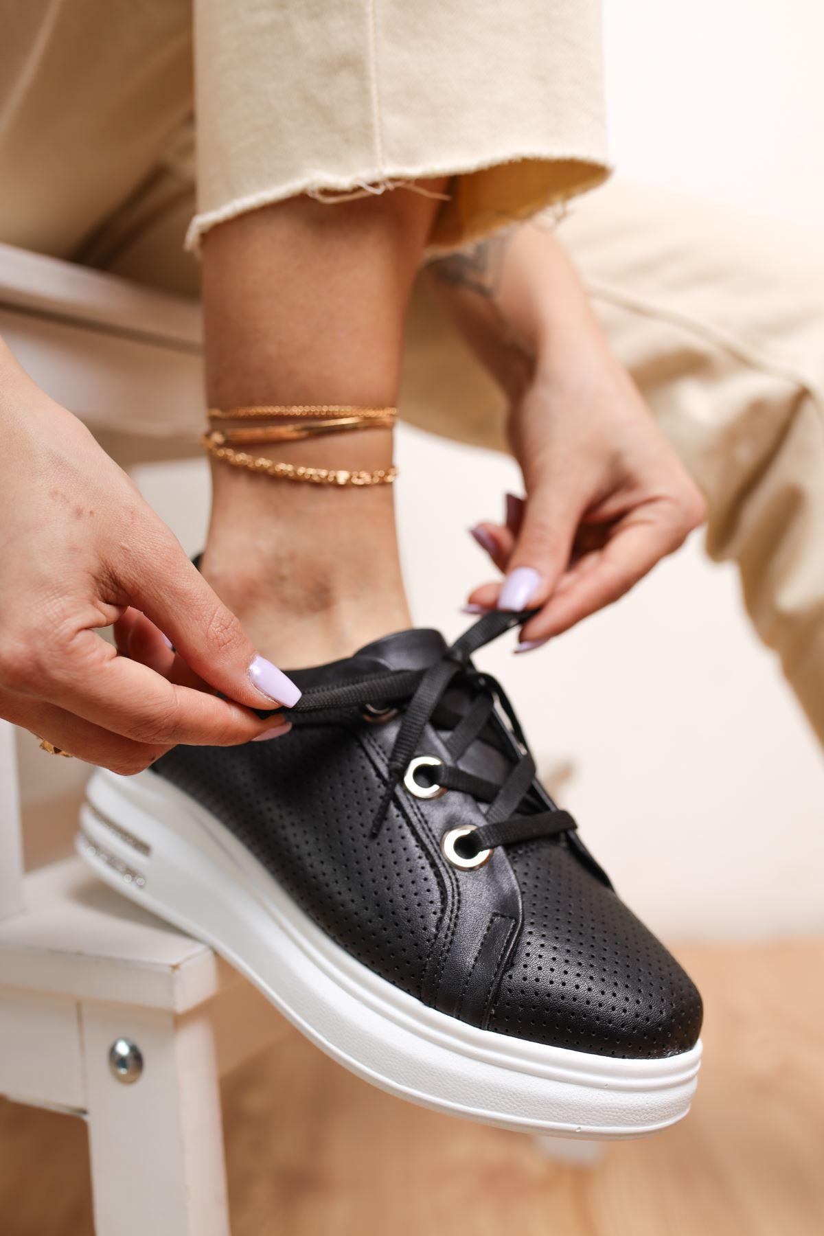 Head Siyah Mat Deri Kadın Spor Ayakkabı