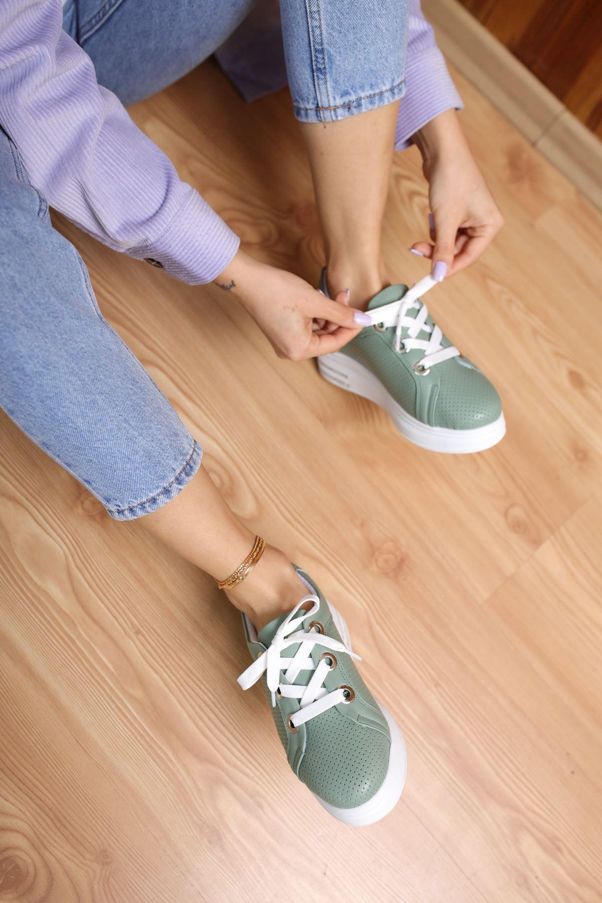 Head Yeşil Mat Deri Kadın Spor Ayakkabı
