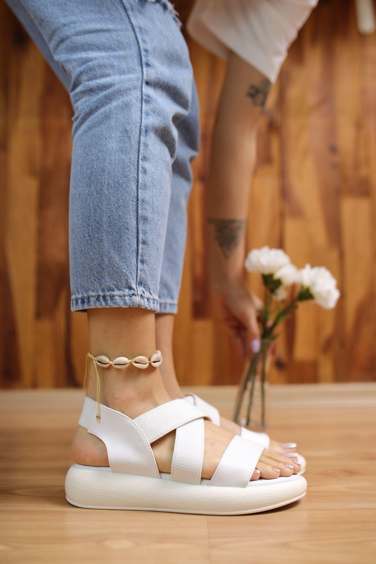 Mimi Beyaz Kadın Sandalet