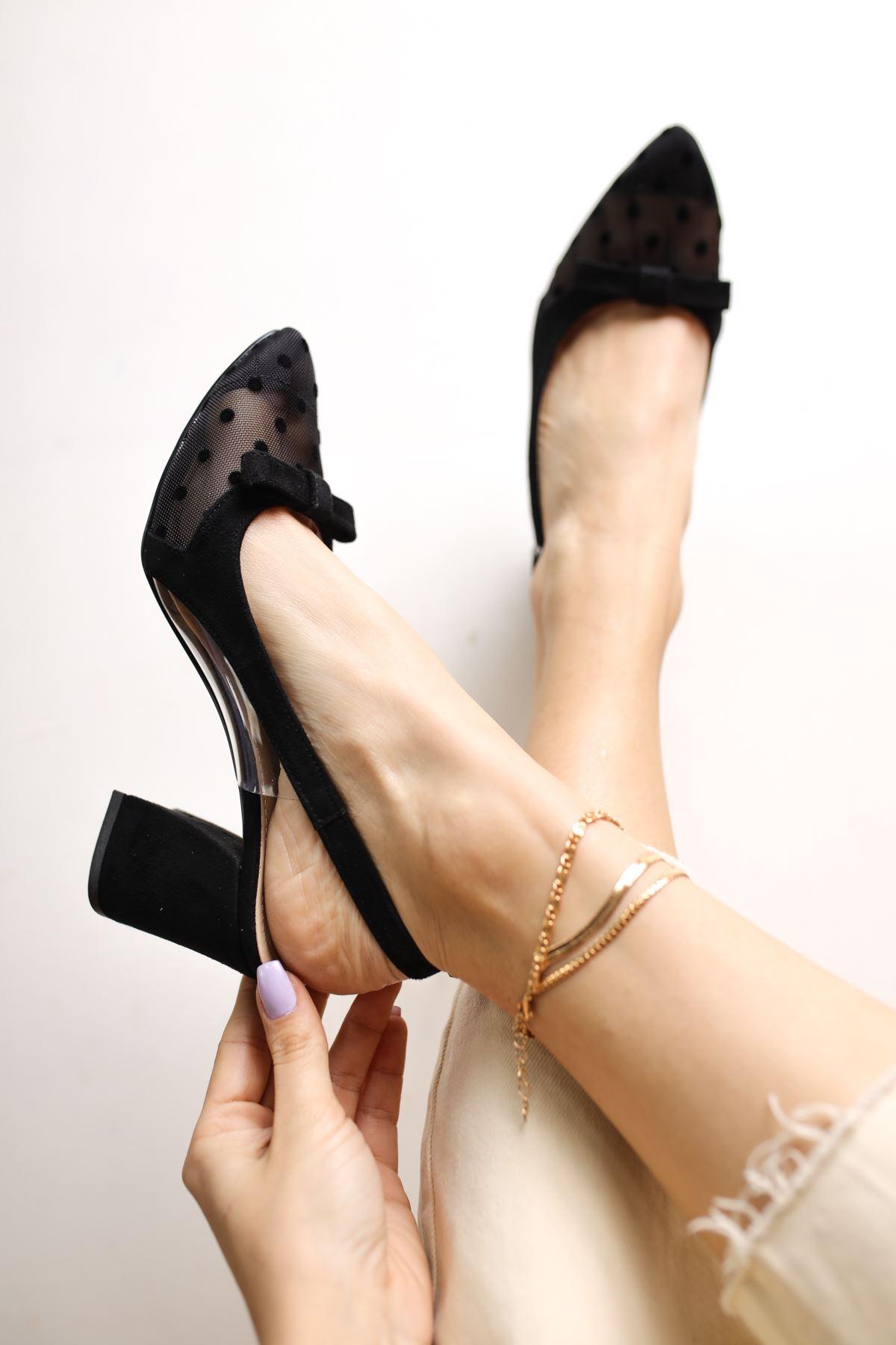 Mello Siyah Süet Kadın Topuklu Ayakkabı
