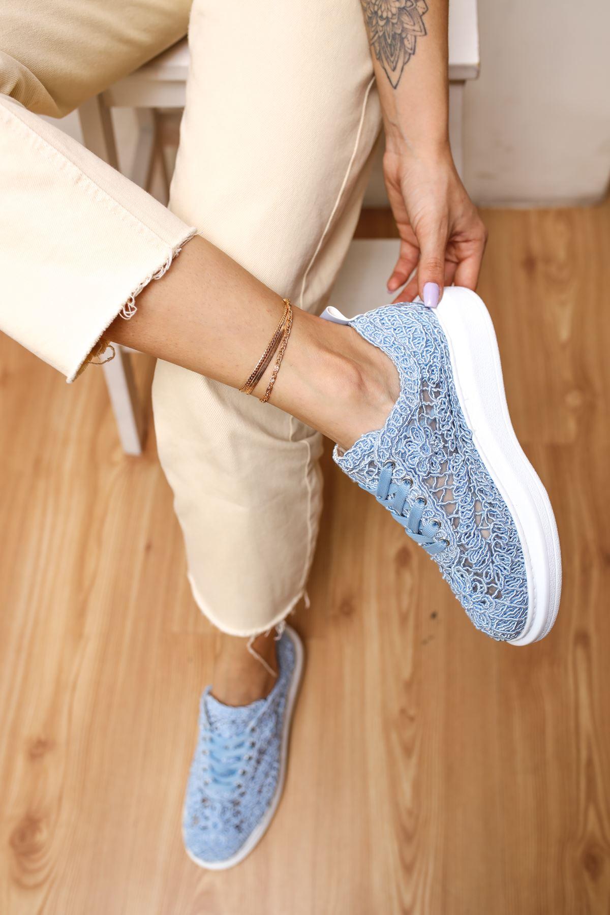 Rosa Bebek Mavi Dantel Kadın Spor Ayakkabı