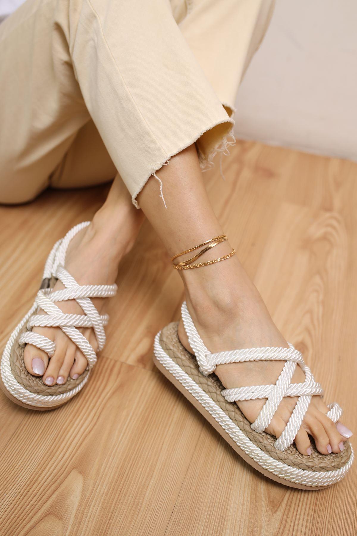 Carlo Beyaz Halat Kadın Sandalet