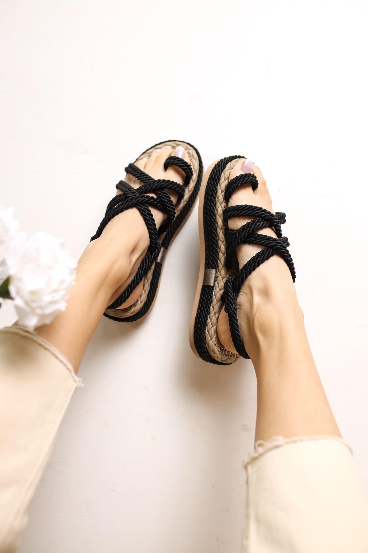Carlo Siyah Halat Kadın Sandalet