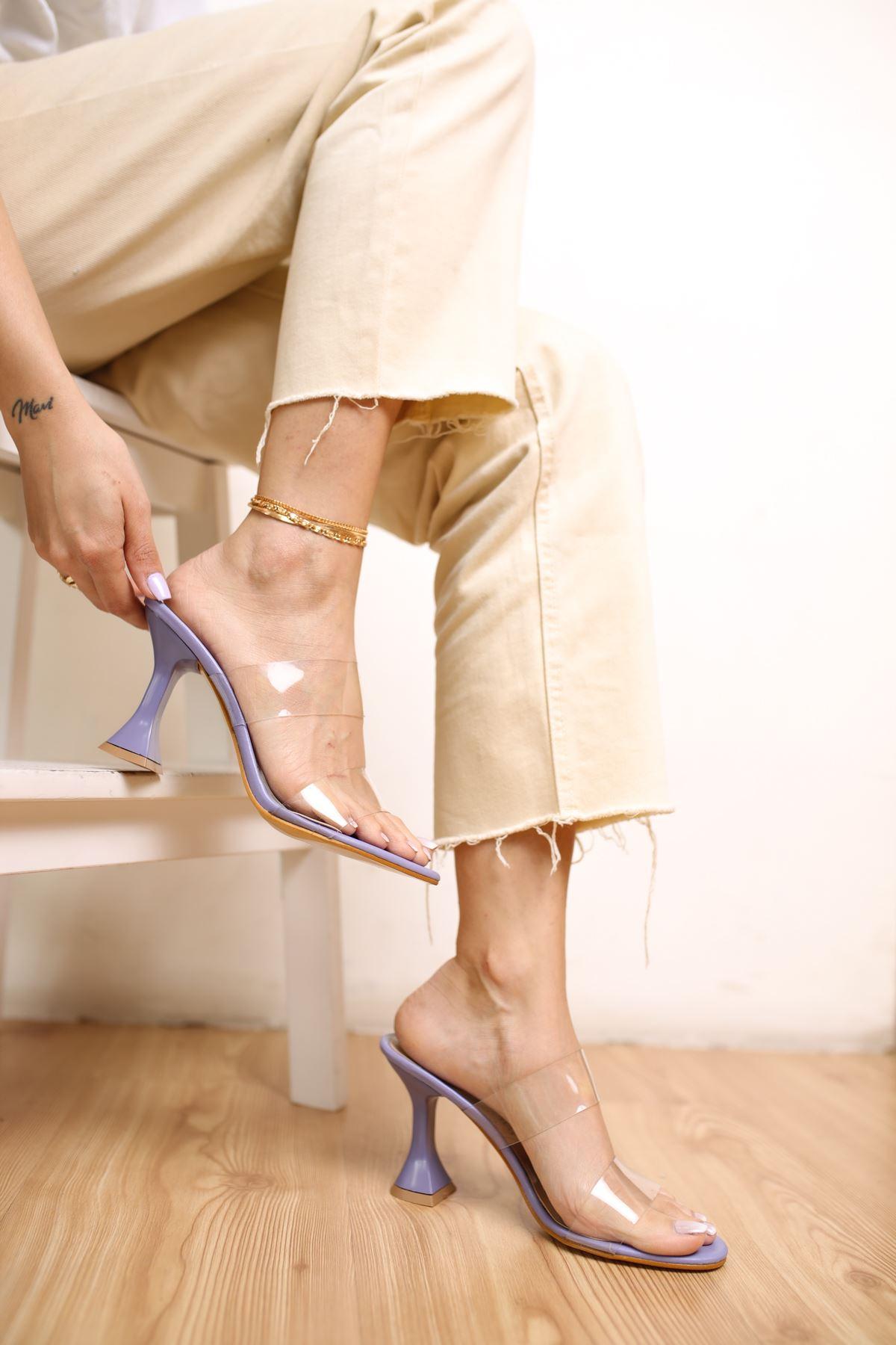 Faus Lila Mat Deri Şeffaf Kadın Topuklu Ayakkabı