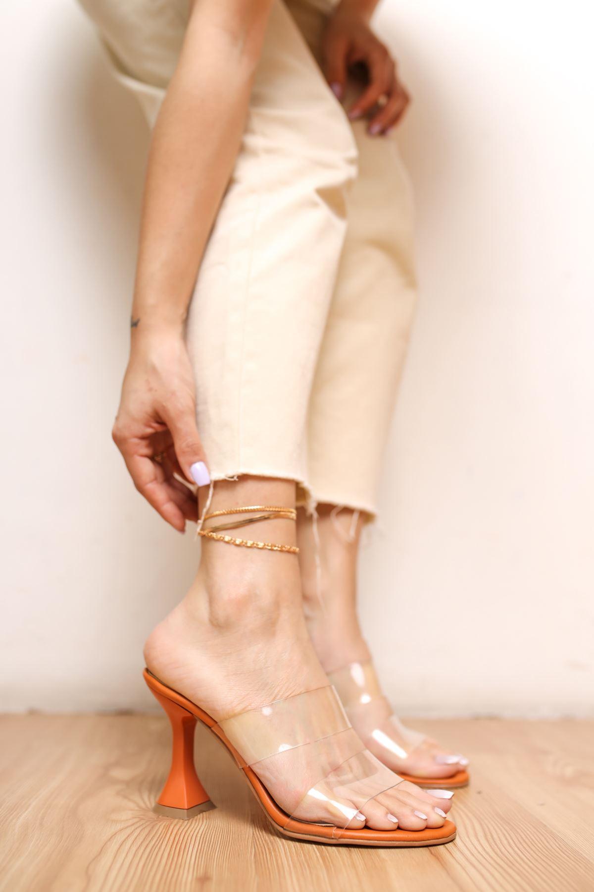 Faus Oranj Mat Deri Şeffaf Kadın Topuklu Ayakkabı