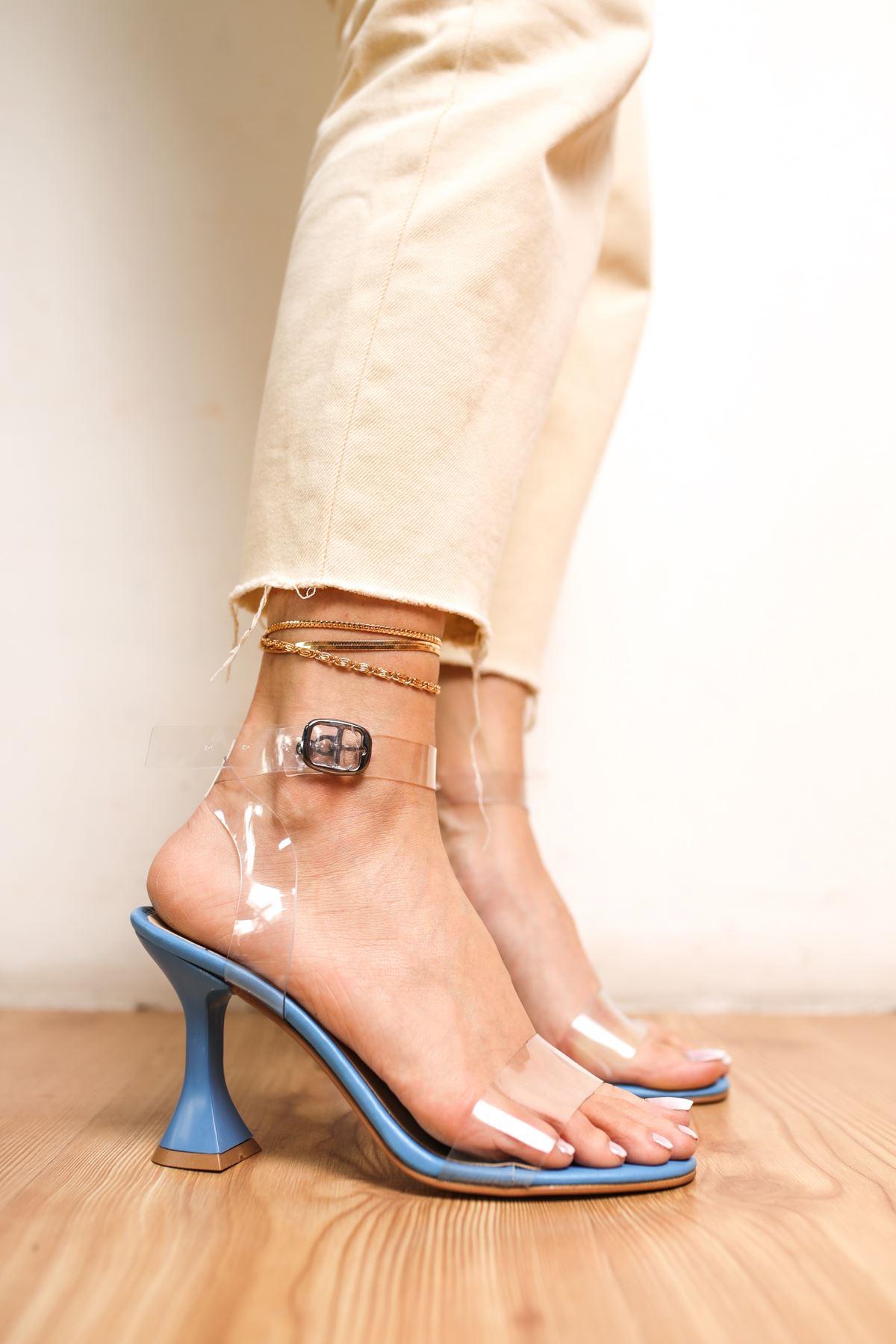 Oleg Mavi Mat Deri Şeffaf Kadın Topuklu Ayakkabı