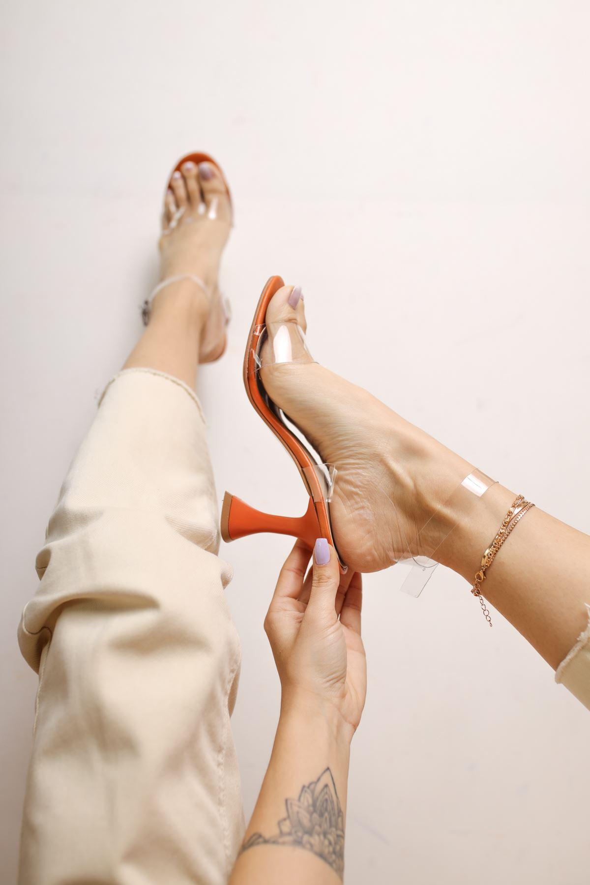 Oleg Oranj Mat Deri Şeffaf Kadın Topuklu Ayakkabı