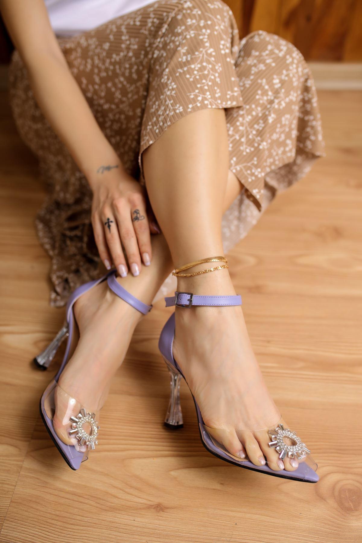 Gino Lila Mat Deri Kadın Topuklu Ayakkabı