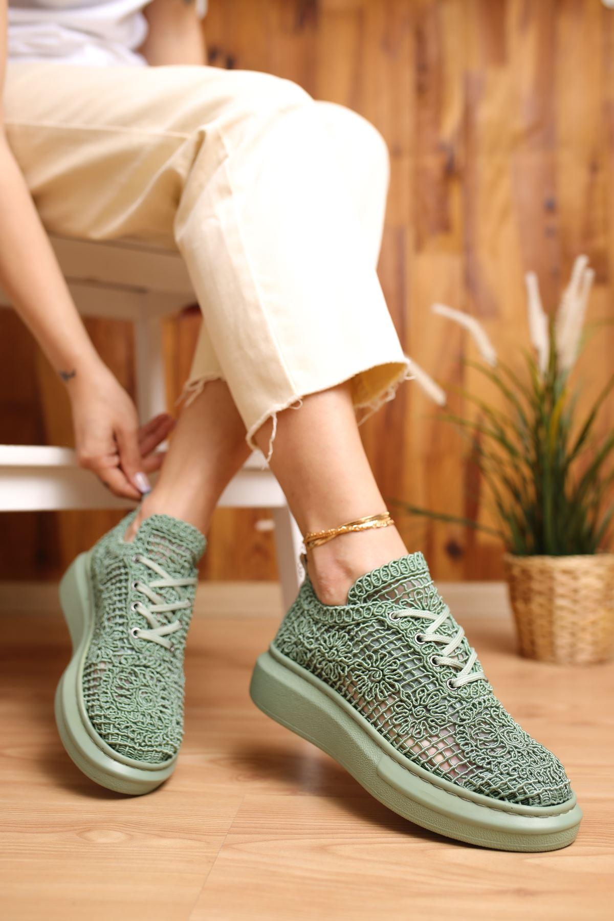 Rosa Yeşil Dantel Kadın Spor Ayakkabı