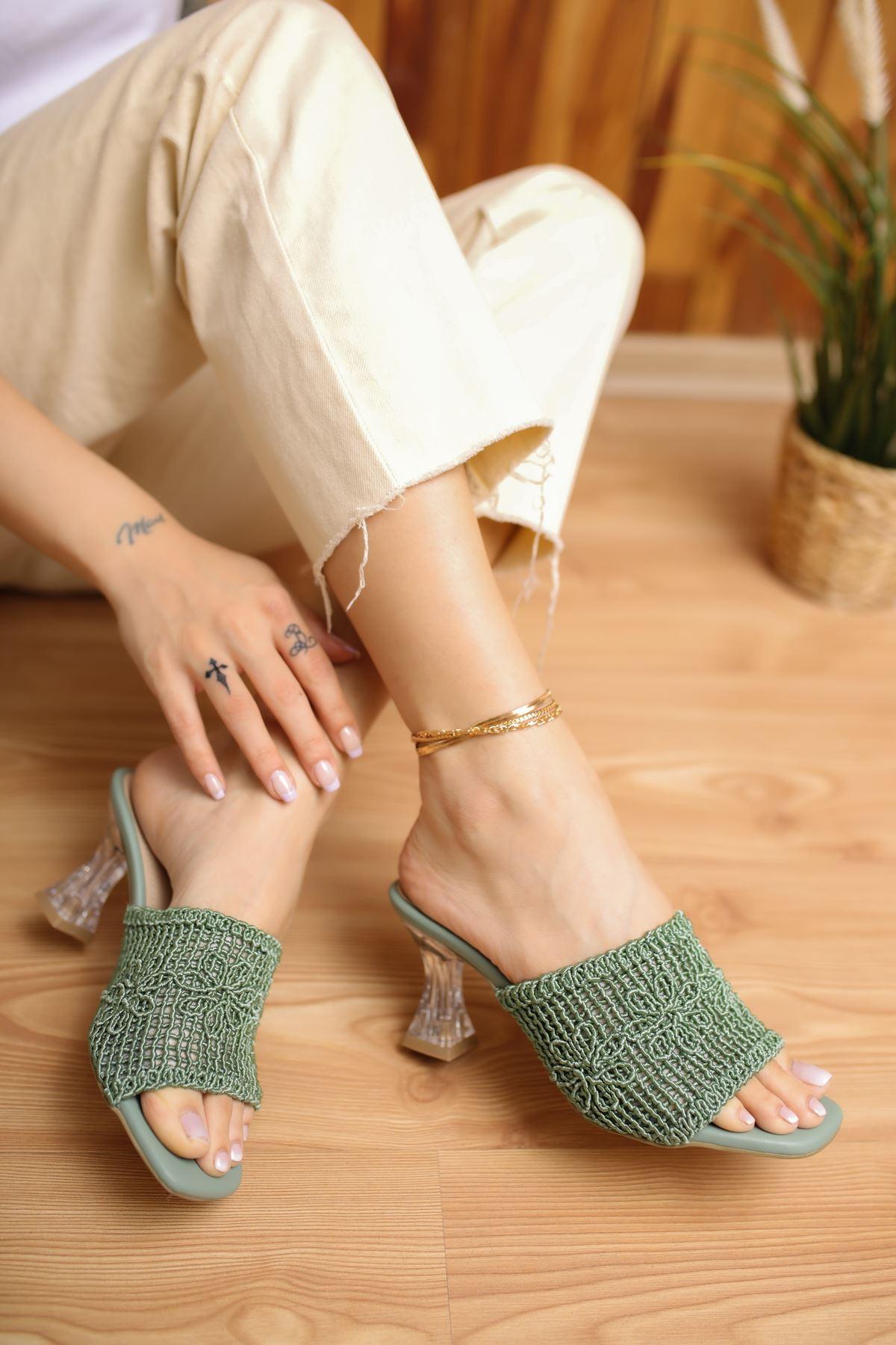 Collen Yeşil Dantel Kadın Topuklu Terlik