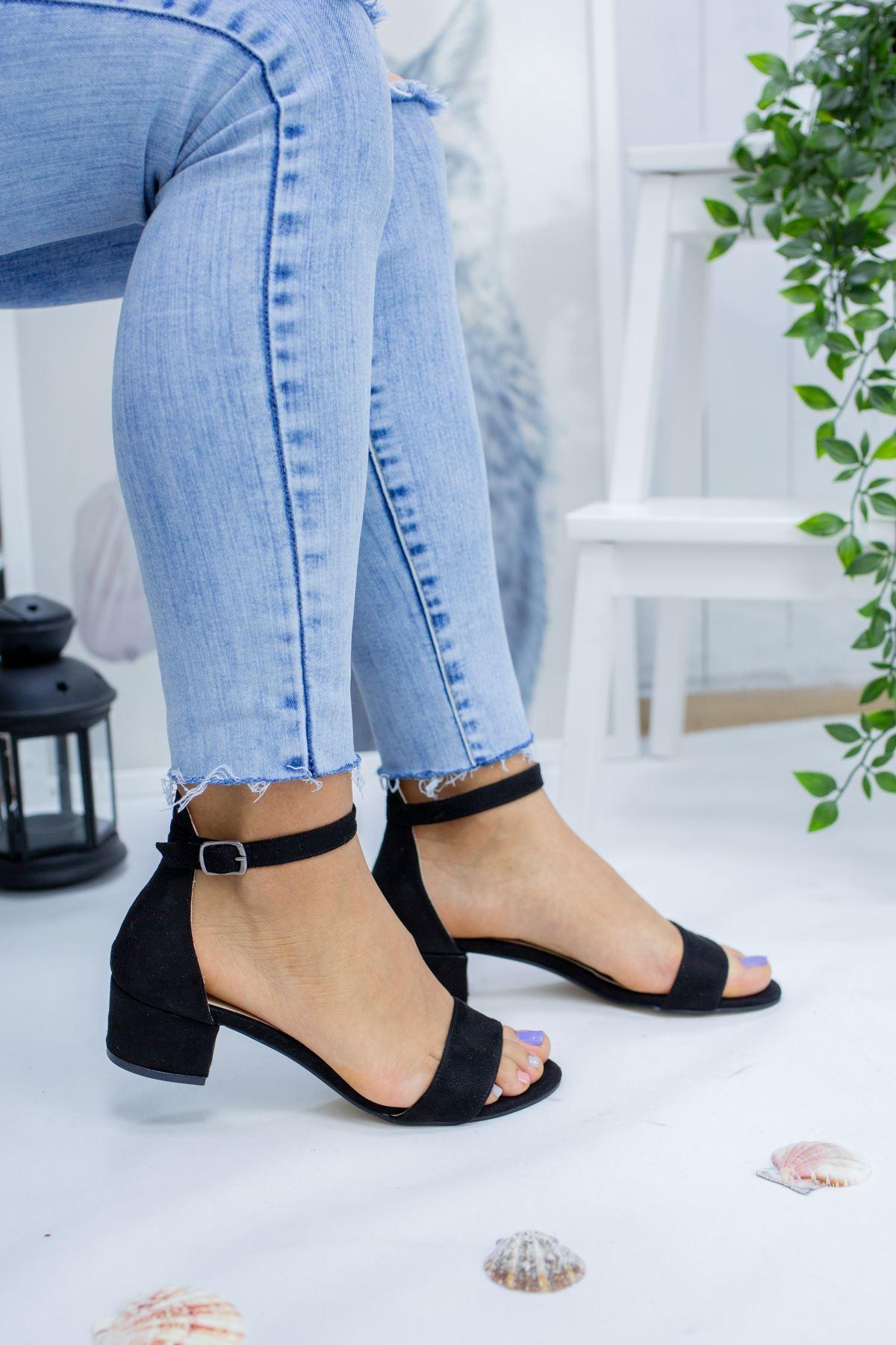 Diana Siyah Süet Kadın Topuklu Ayakkabı