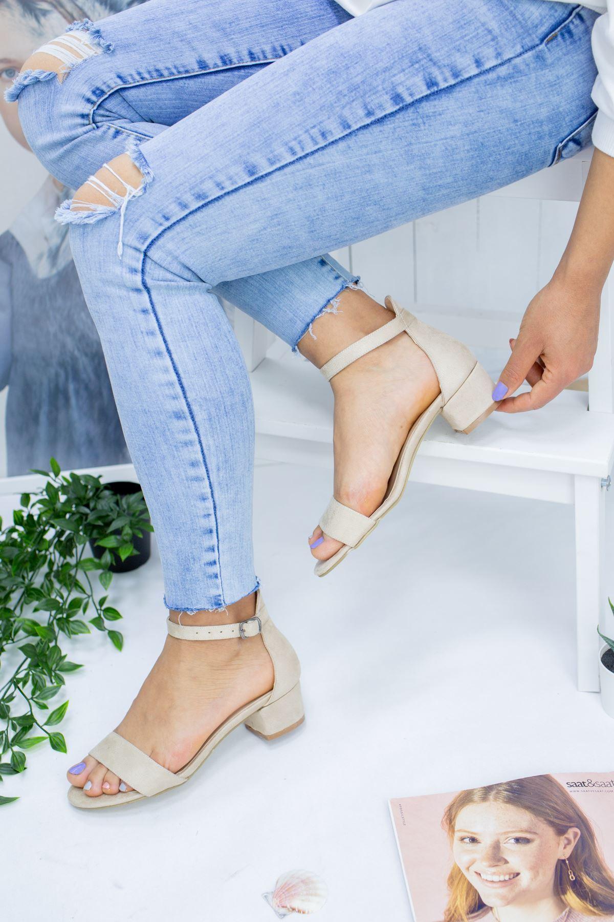 Diana Vizon Süet Kadın Topuklu Ayakkabı