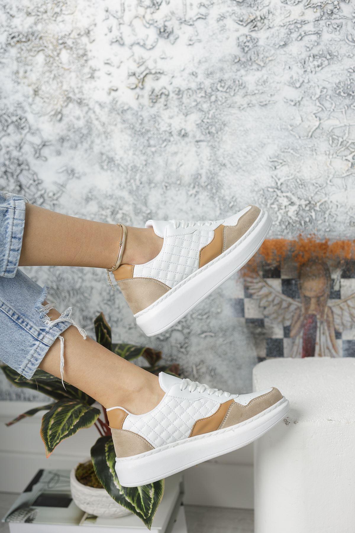 Danila Beyaz Kapitone Bej-Taba Süet Bağcıklı Kadın Spor Ayakkabı