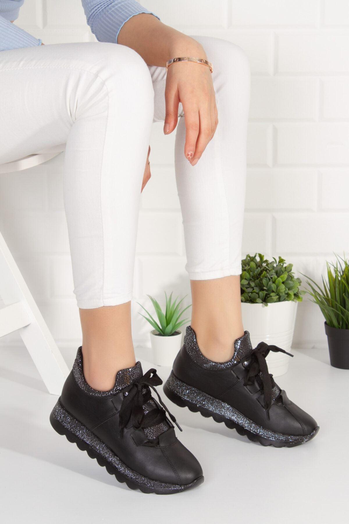 Hudson Siyah Mat Deri Kadın Spor Ayakkabı