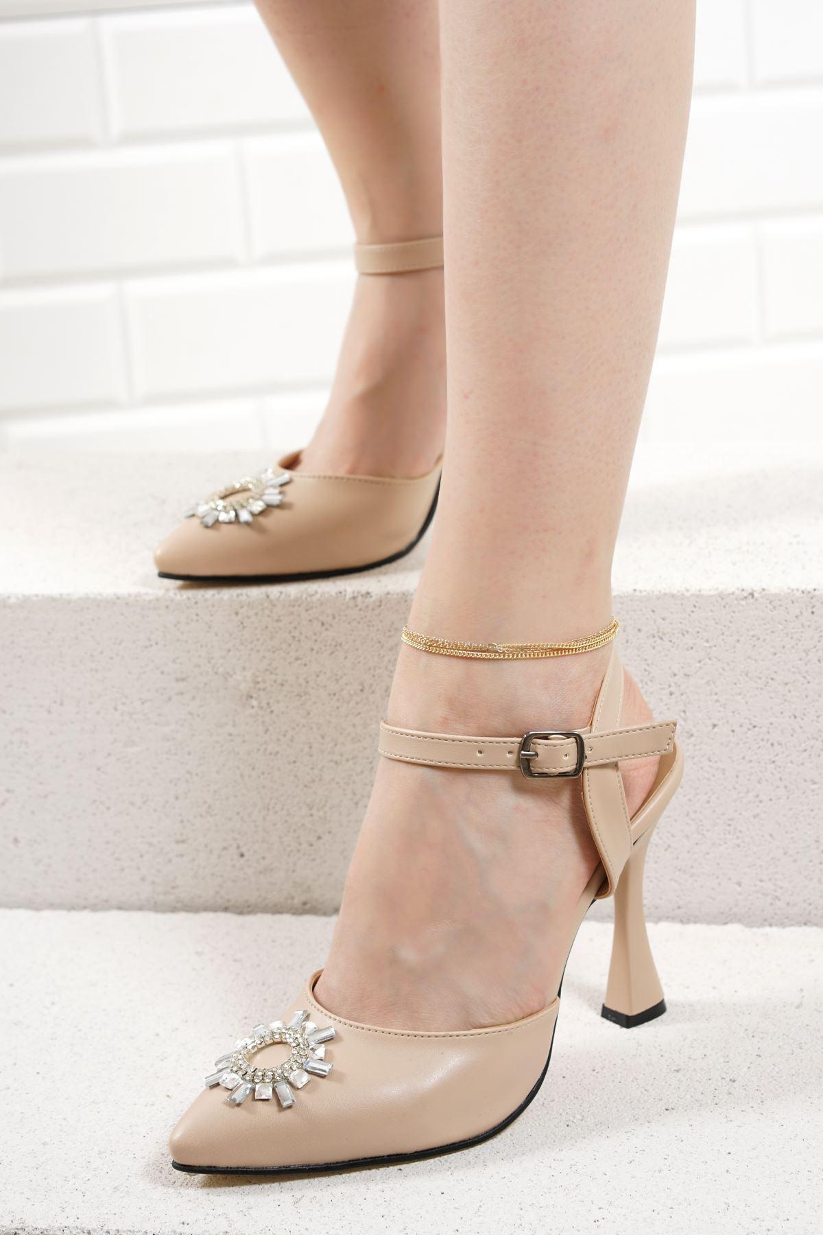 Bella Vizon Mat Deri Kadın Topuklu Ayakkabı