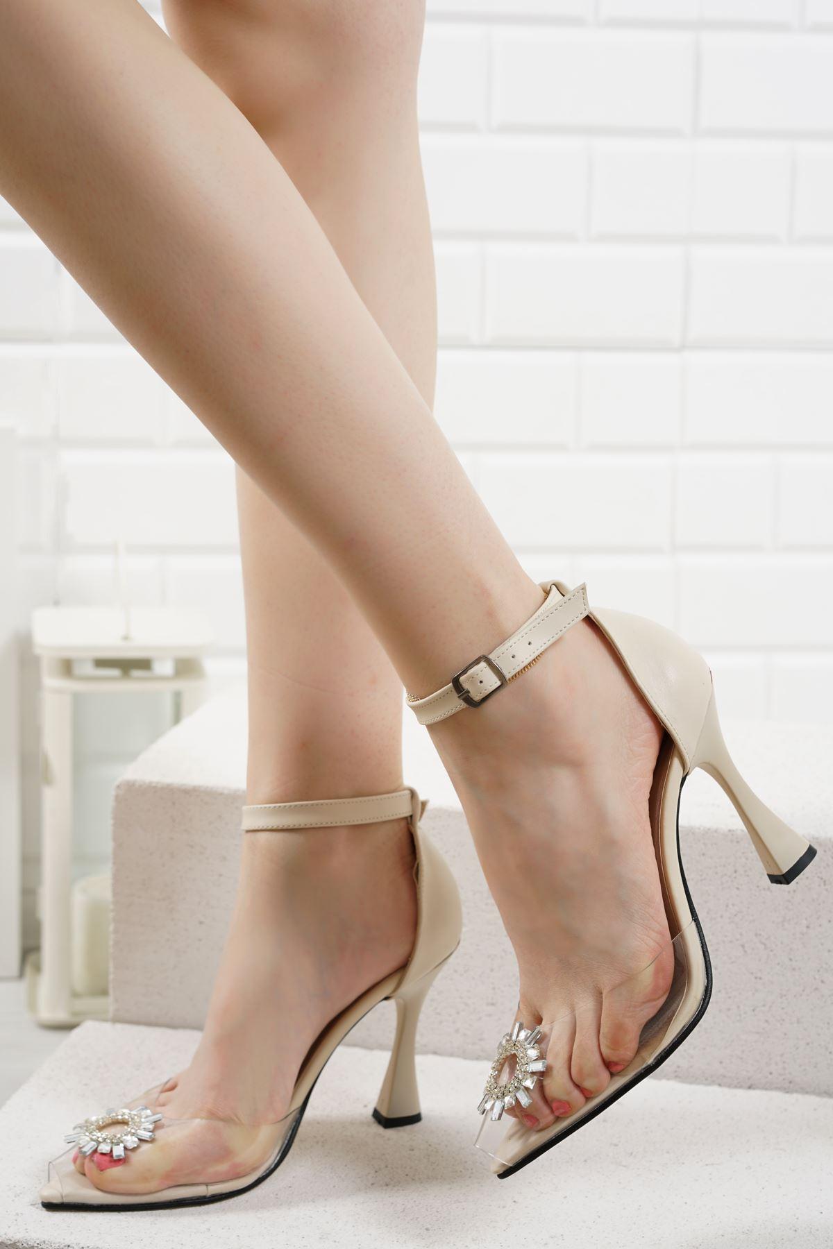 Gino Vizon Mat Deri Kadın Topuklu Ayakkabı