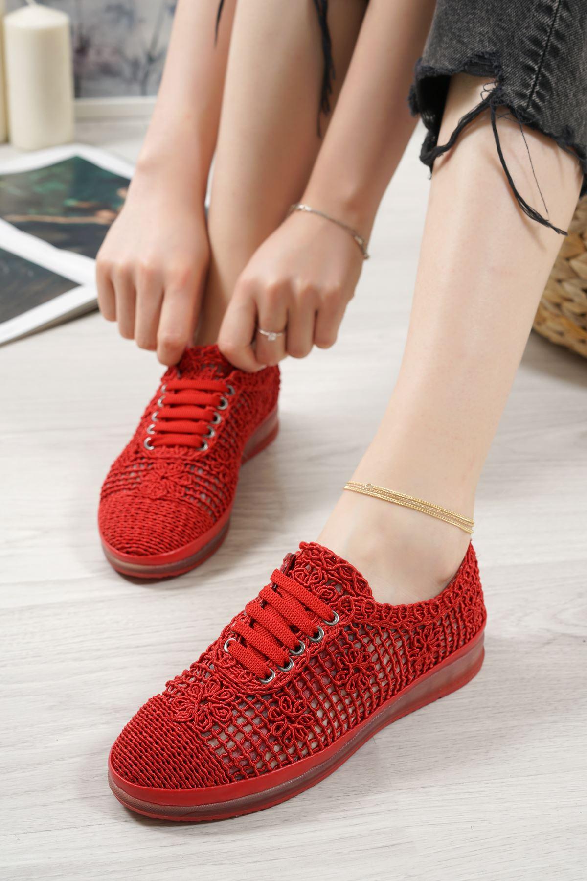 Danil Kırmızı Dantel Kadın Spor Ayakkabı