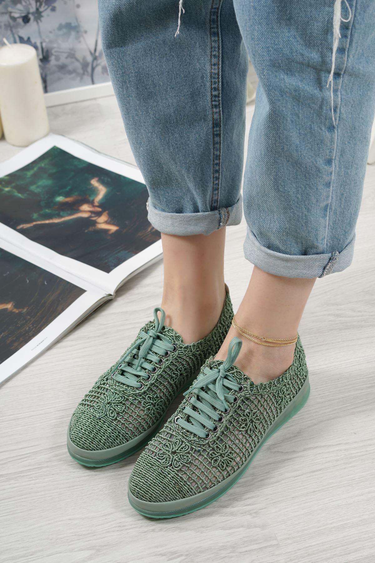 Danil Yeşil Dantel Kadın Spor Ayakkabı