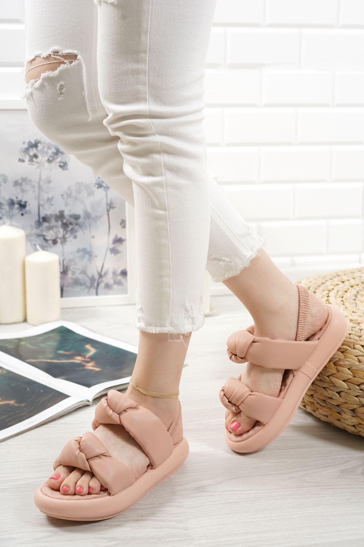 Lujina Pudra Mat Deri Kadın Sandalet