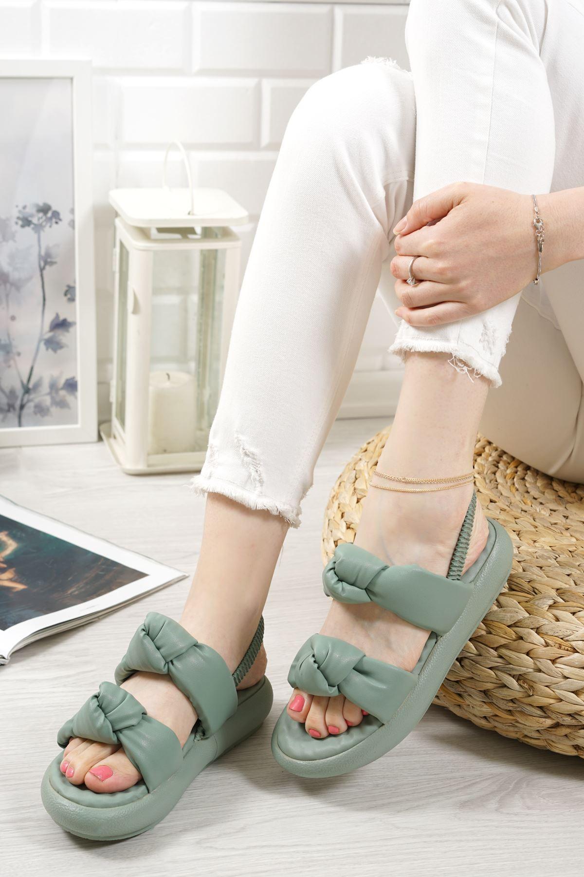 Lujina Yeşil Mat Deri Kadın Sandalet