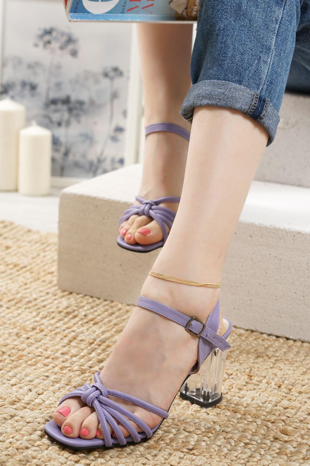 Nicole Lila Mat Deri Kadın Topuklu Ayakkabı