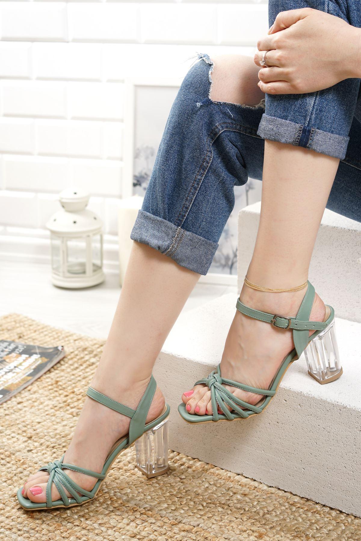 Nicole Yeşil Mat Deri Kadın Topuklu Ayakkabı