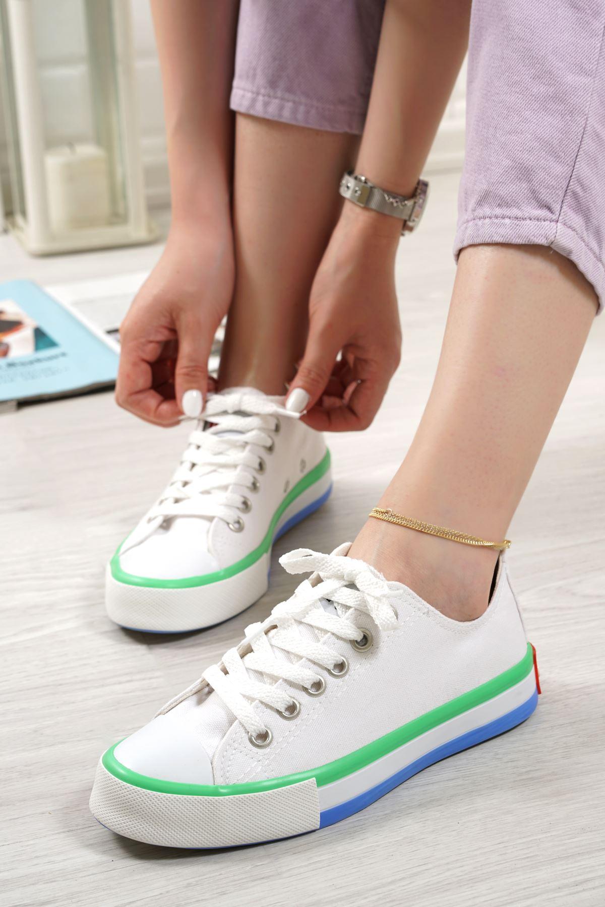 Primo Beyaz Keten Bağcıklı Kadın Spor Ayakkabı