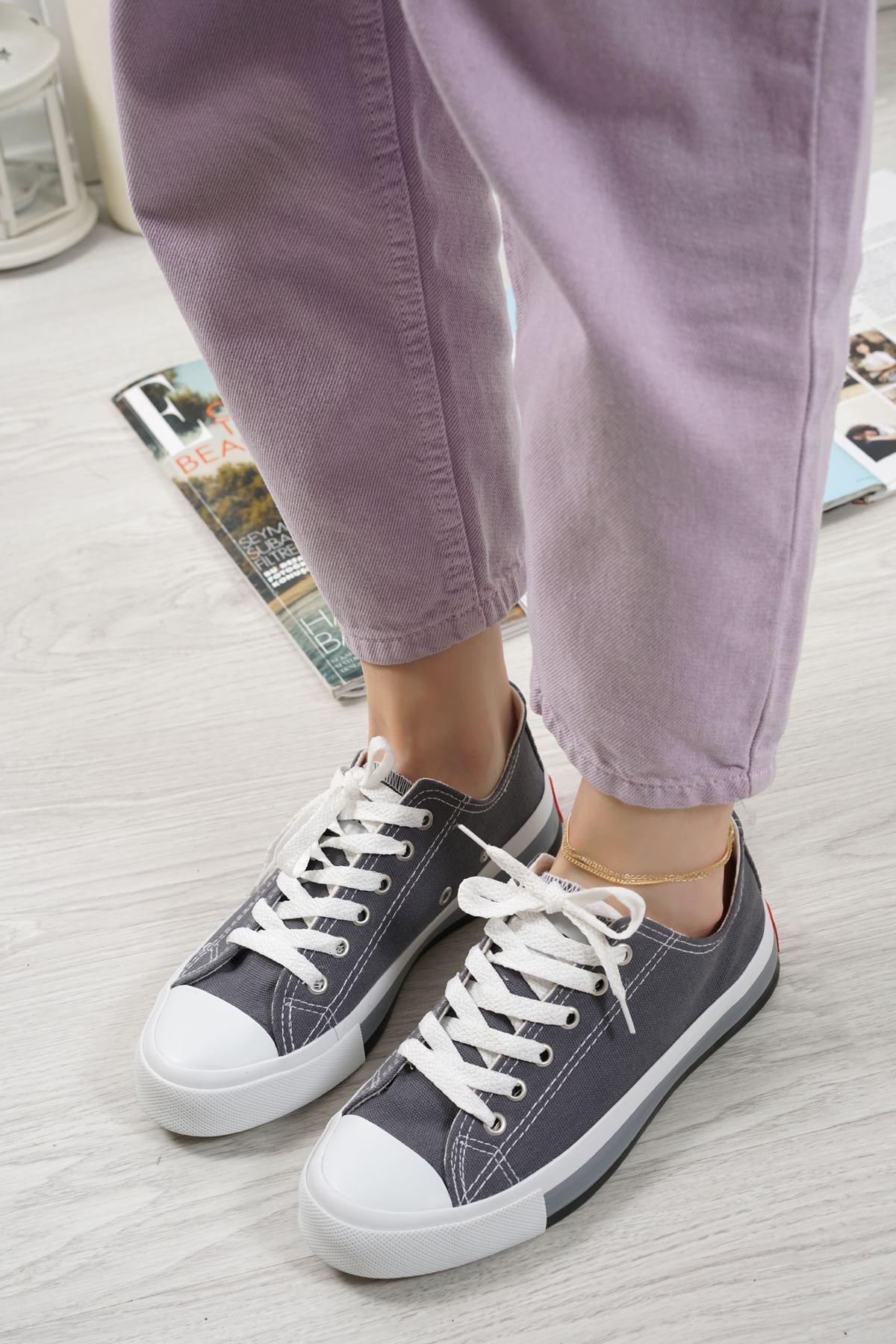Primo Gri Keten Bağcıklı Kadın Spor Ayakkabı