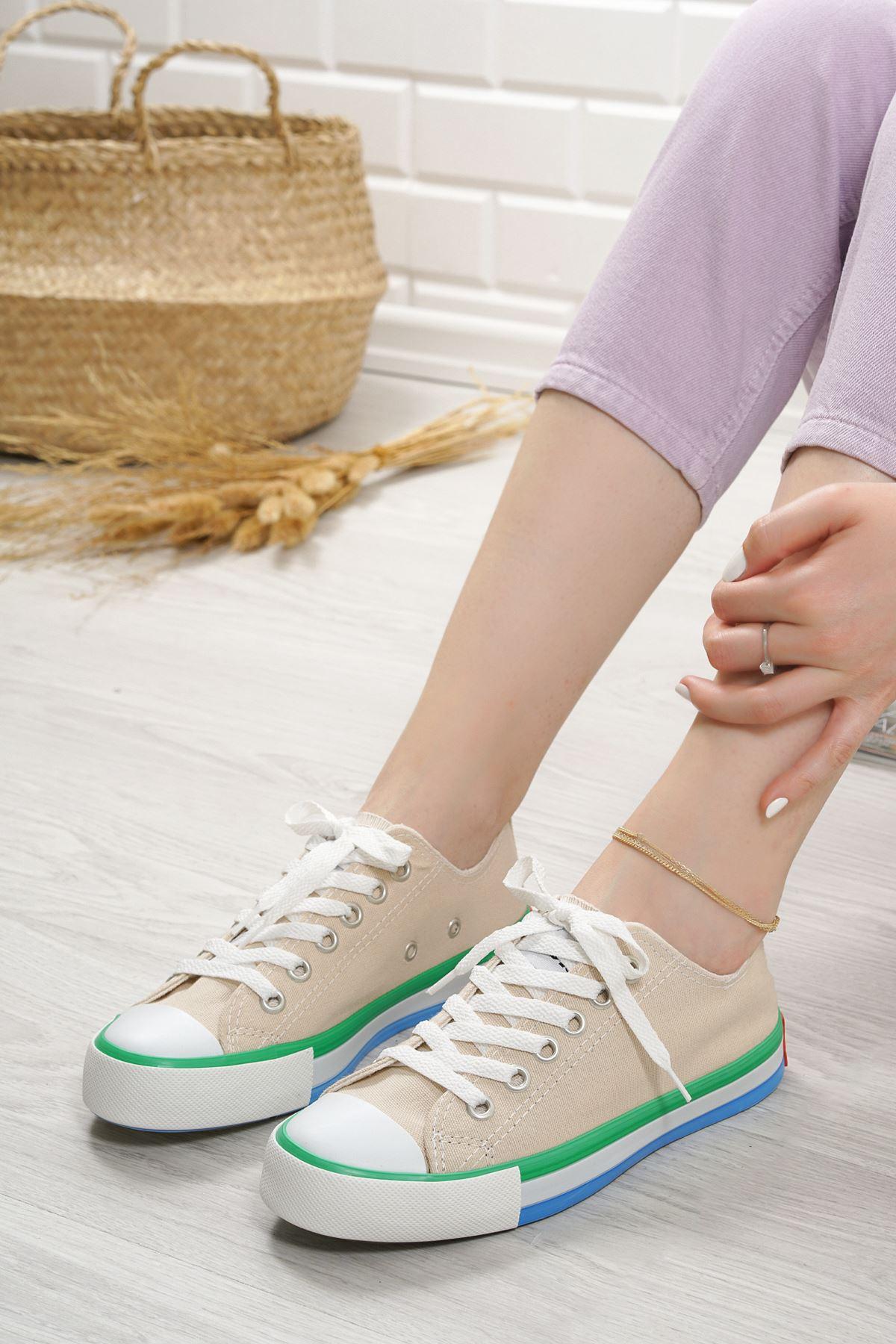 Primo Bej Keten Bağcıklı Kadın Spor Ayakkabı