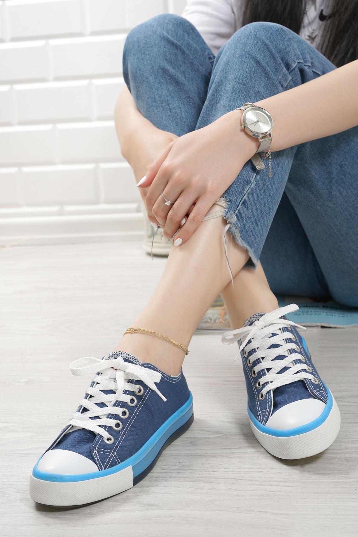 Primo Lacivert Keten Bağcıklı Kadın Spor Ayakkabı