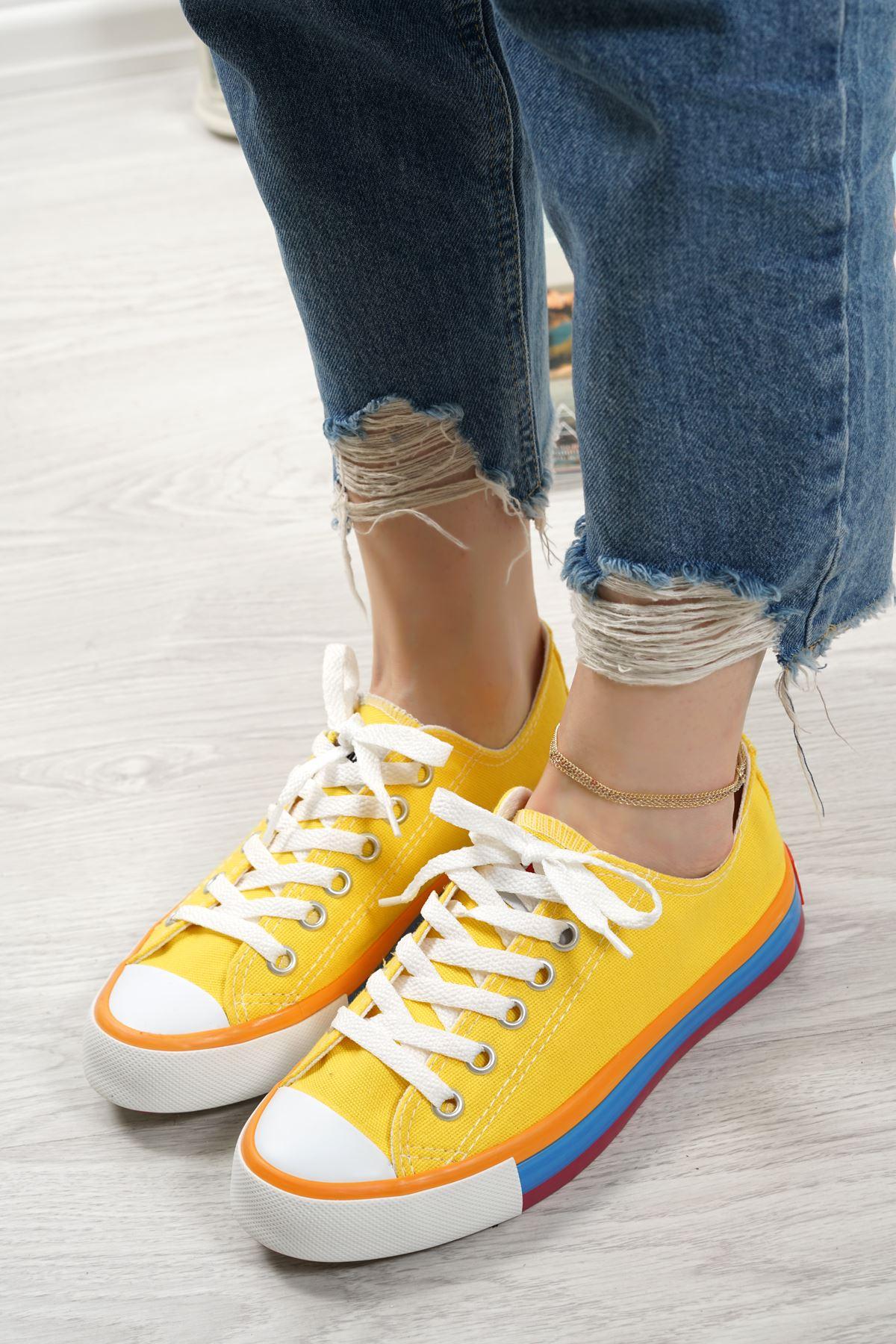 Primo Limon Keten Bağcıklı Kadın Spor Ayakkabı