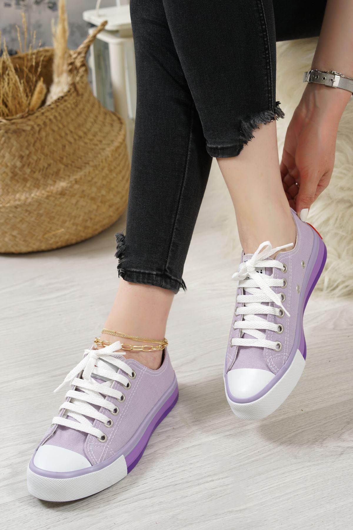 Primo Lila Keten Bağcıklı Kadın Spor Ayakkabı