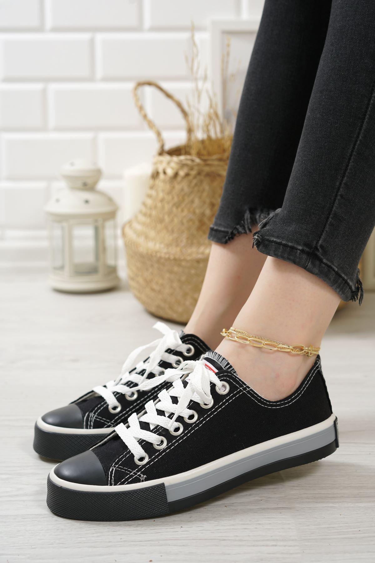 Primo Siyah Keten Bağcıklı Kadın Spor Ayakkabı