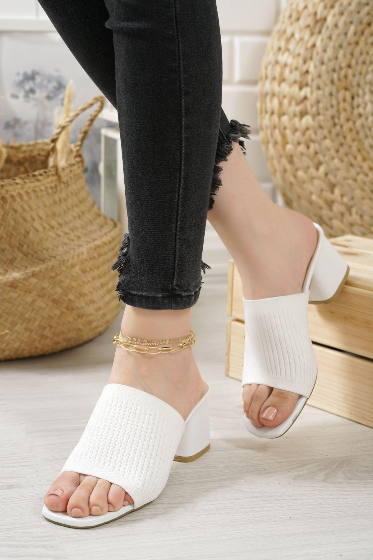 Marcello Beyaz Triko Kadın Topuklu Terlik