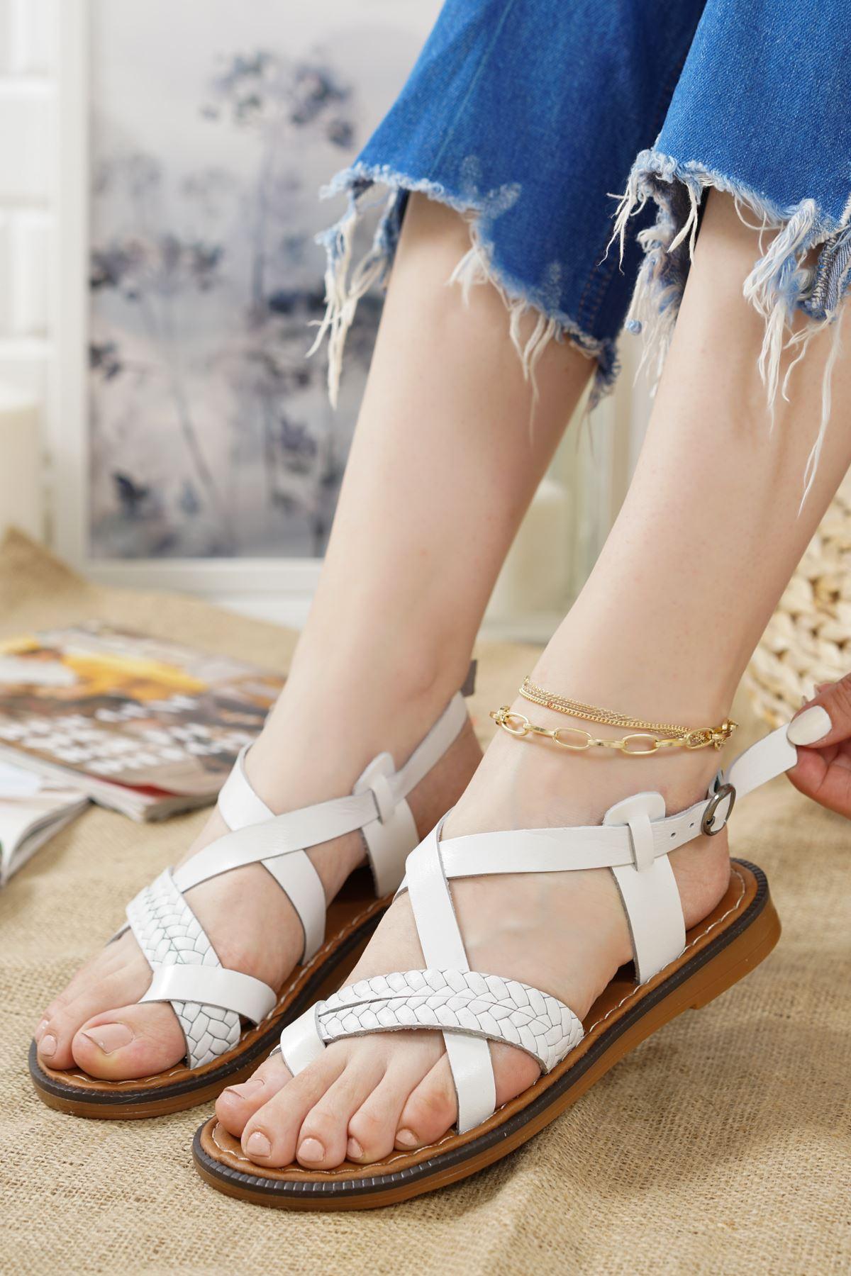 Magent Beyaz Hakiki Deri Kadın Sandalet