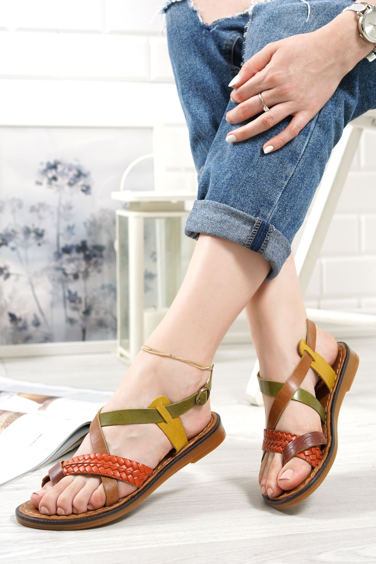 Magent Renkli Hakiki Deri Kadın Sandalet