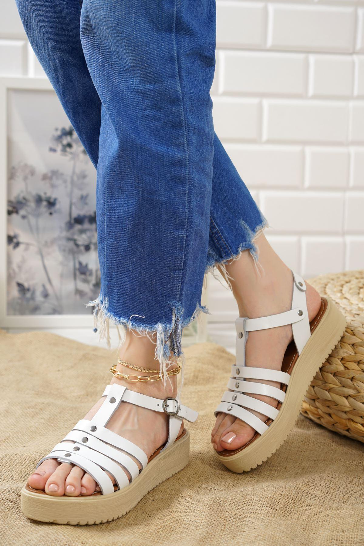 Luna Beyaz Hakiki Deri Kadın Sandalet
