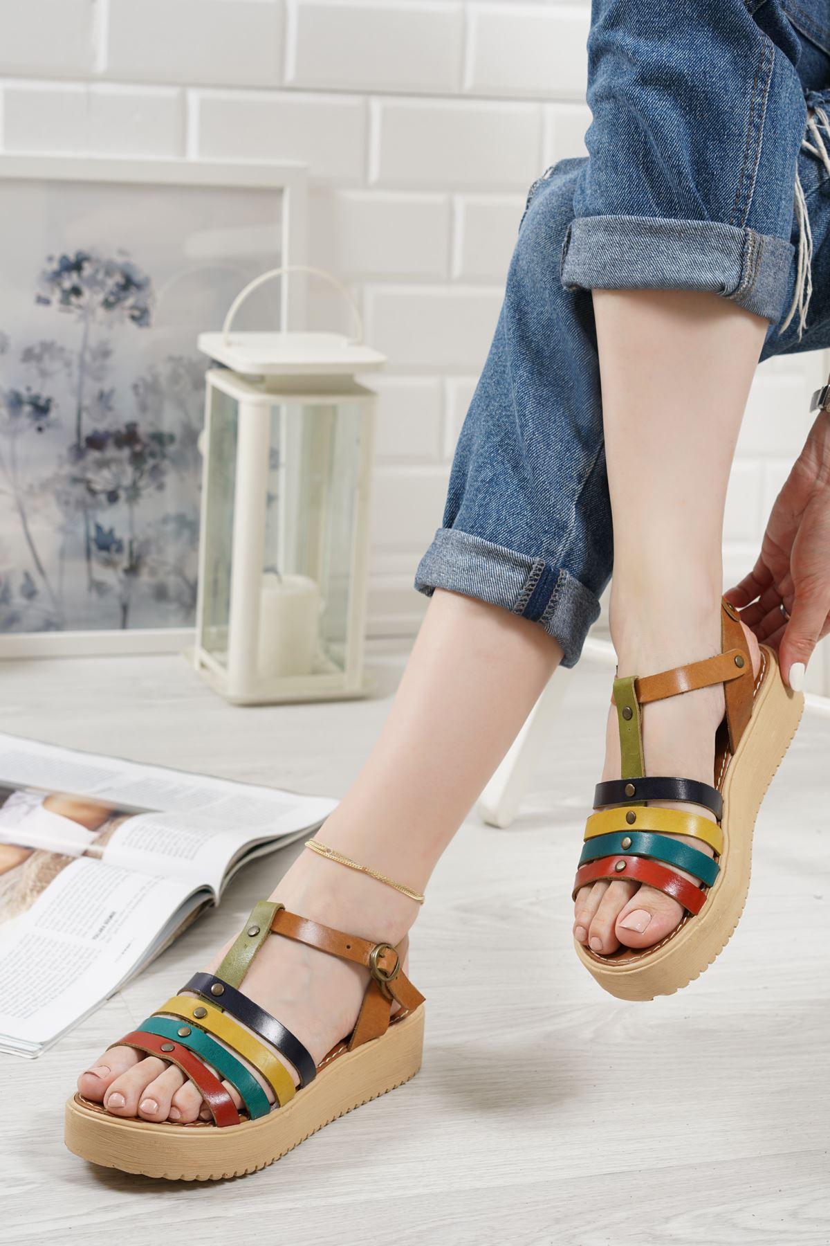 Luna Renkli Hakiki Deri Kadın Sandalet
