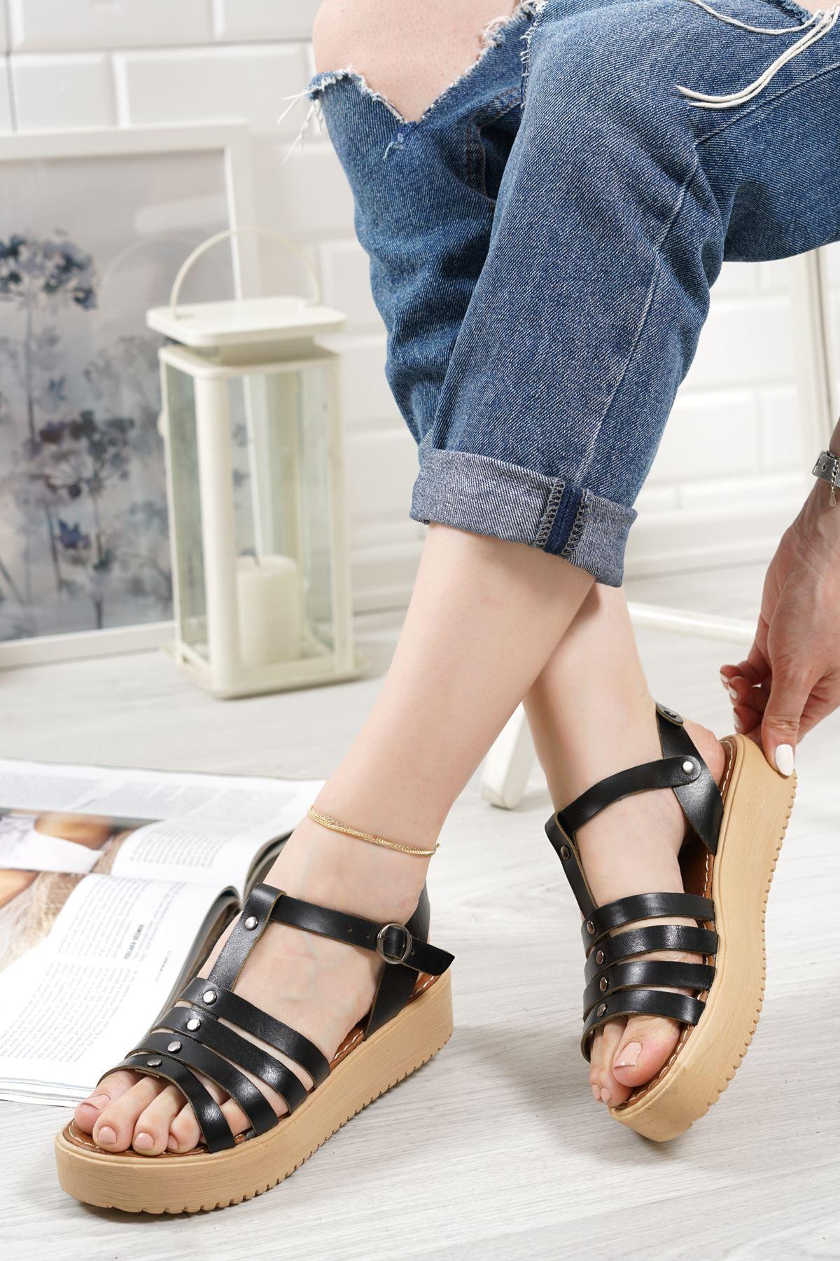 Luna Siyah Hakiki Deri Kadın Sandalet